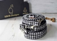 Black and White Harris Tweed Dog Lead